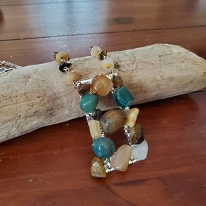 Statement necklace with earth tones rocks